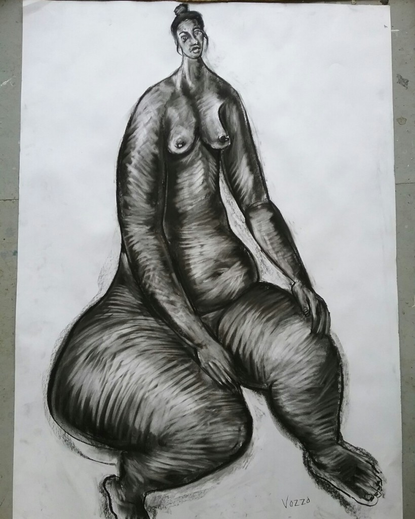 Nude I, Size: 74 x 54 cm, Charcoal on paper, Special COVID price: $650 unframed, $950.00 framed. Contact on Instagram vince_vozzo