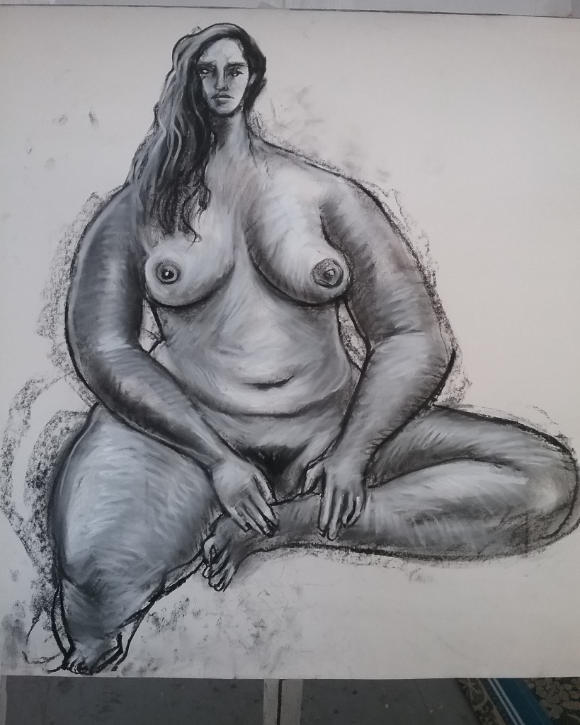 Charcoal/pastel on paper Size: 74 x 54 cm COVID19 special price. $650 unframed, $950 framed